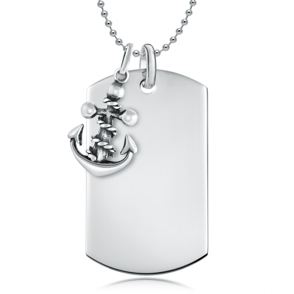 Anchor & Dog Tag Necklace, Personalised, 925 Sterling Silver