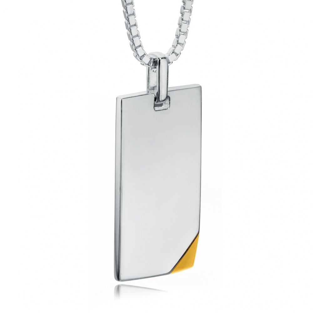 Dog Tag with Gold Plated Corner, Personalised / Engraved, 925 Sterling Silver, Fred Bennett