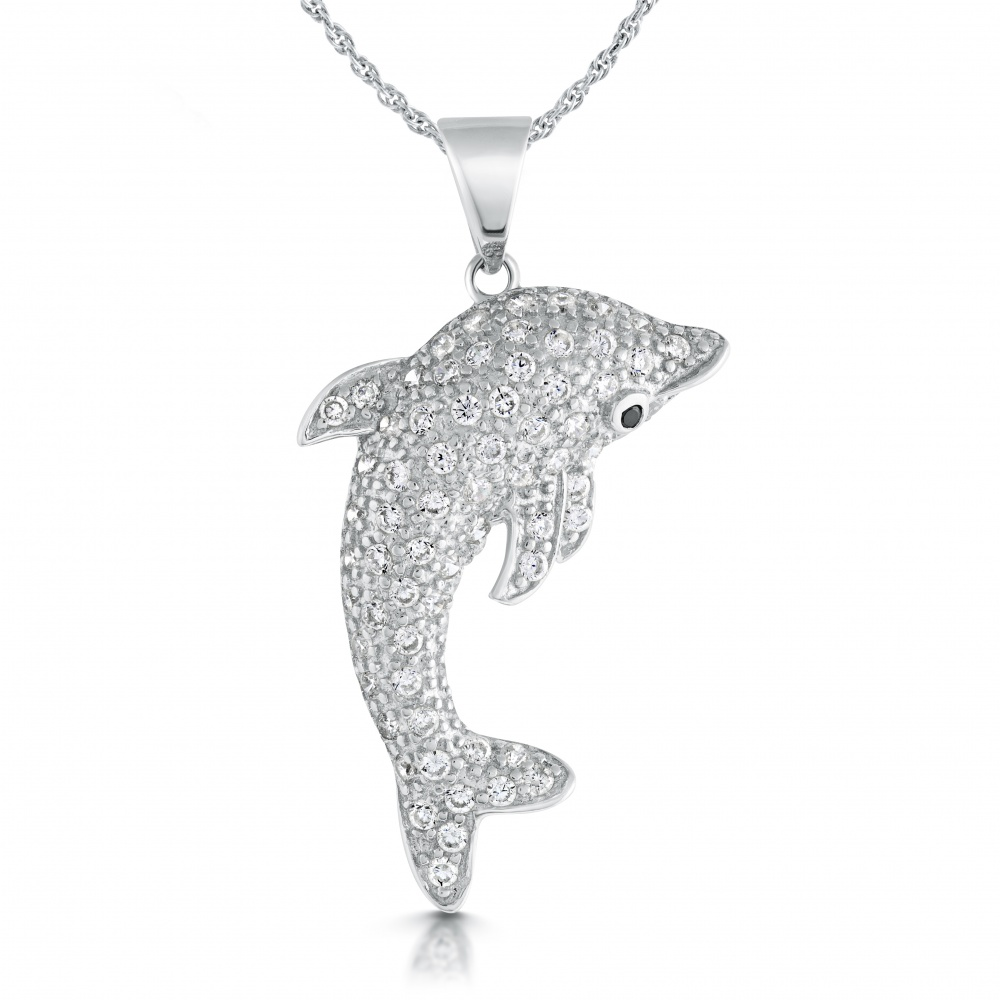 Dolphin Necklace, Cubic Zirconia & Sterling Silver