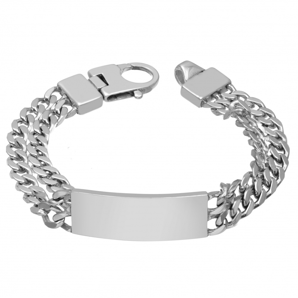 Mens Double Curb Chain Id Bracelet Personalised 925