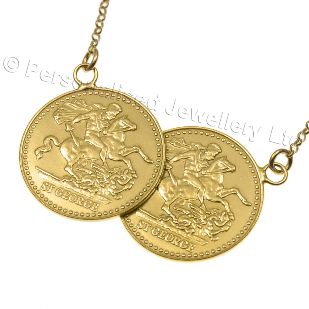 Sovereign double coin necklace gold plated 925 sterling silver aloadofball Images