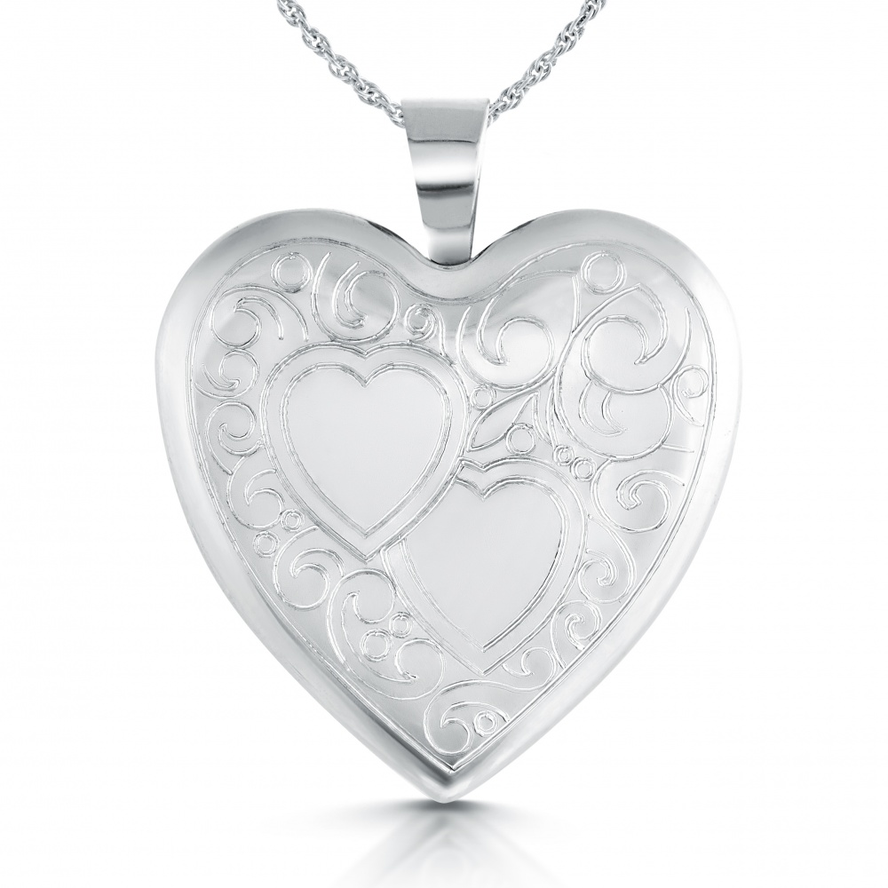 Double Heart Locket, Personalised, Sterling Silver
