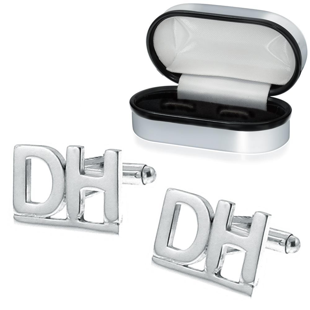 double initialletter sterling silver cufflinks can be personalised