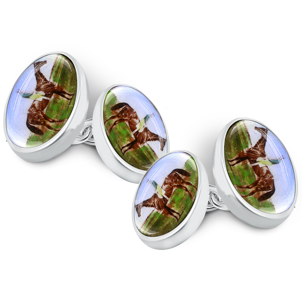 Horse Racing Cufflinks, Enamel & 925 Sterling Silver (can be personalised)