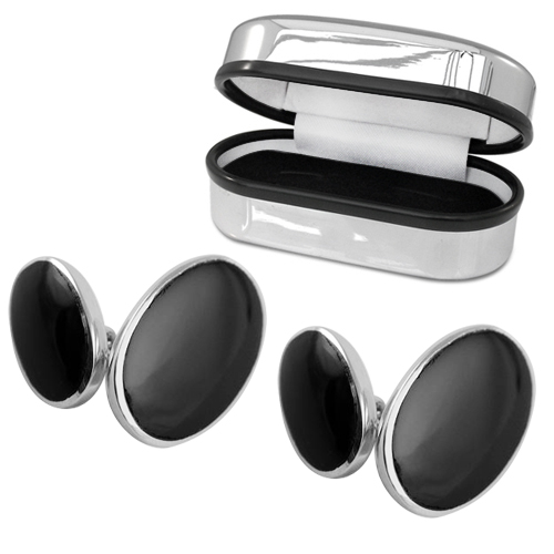 Double Sided Oval Onyx Sterling Silver Cufflinks (can be personalised)