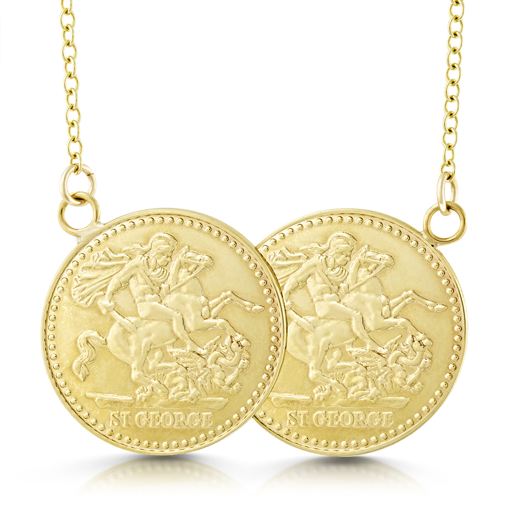 Double sovereign necklace 9ct gold personalised half sovereign aloadofball Images