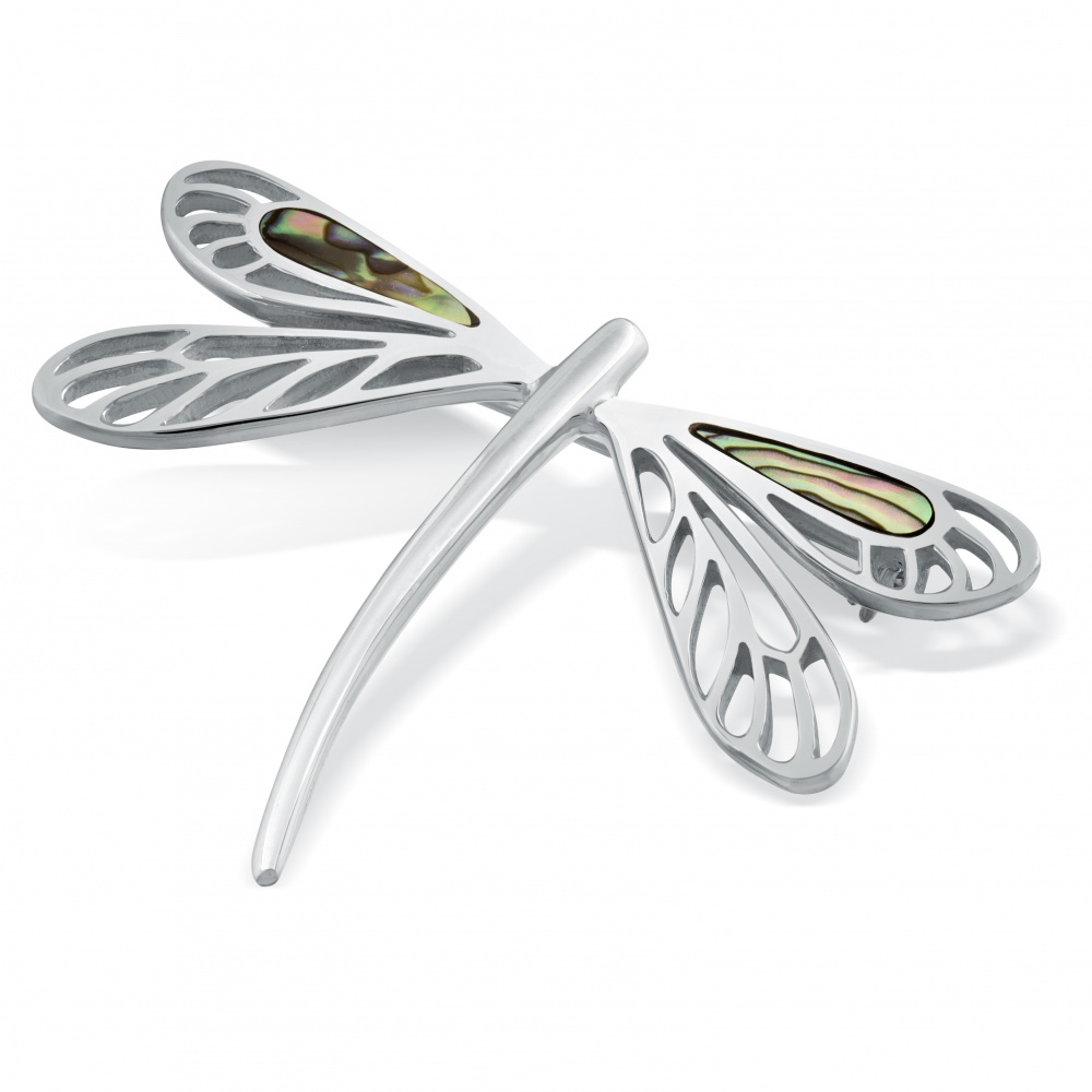 Dragonfly Brooch, Paua Shell & Sterling Silver