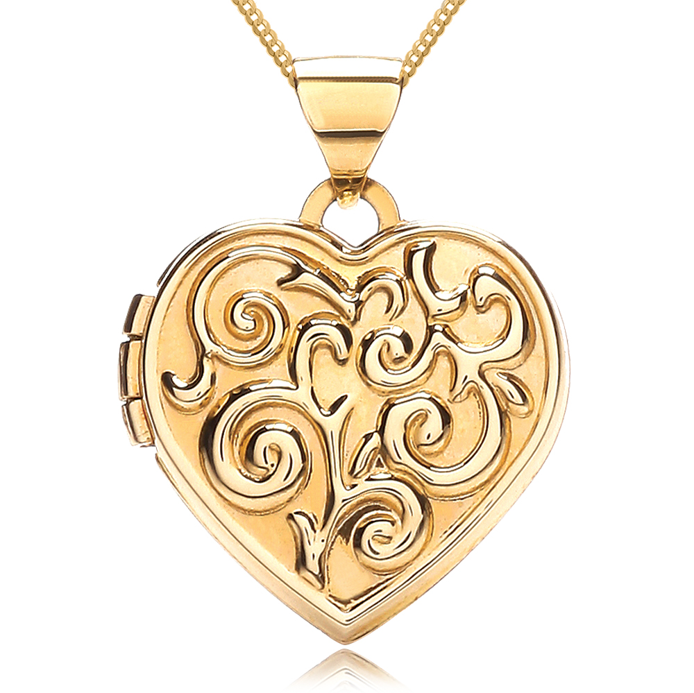 Embossed Scroll Locket, Personalised, 9ct Gold, Heart