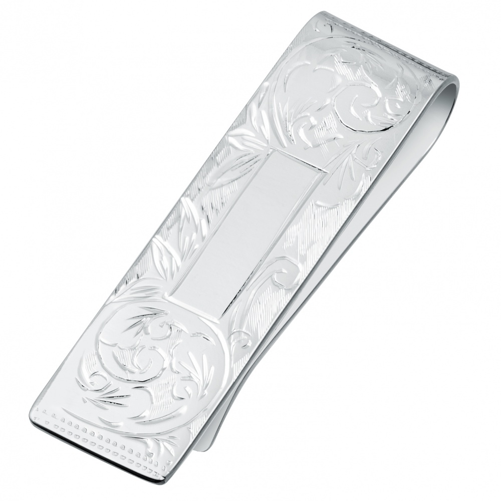 Hand Engraved Slim Sterling Silver Hallmarked Money Clip (can be personalised)