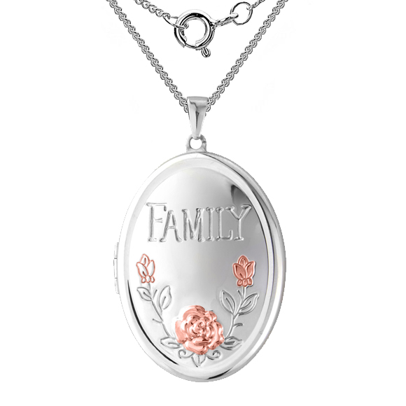 Family Album Pink Flower Locket, Personalised, Sterling Silver, 4 Photo