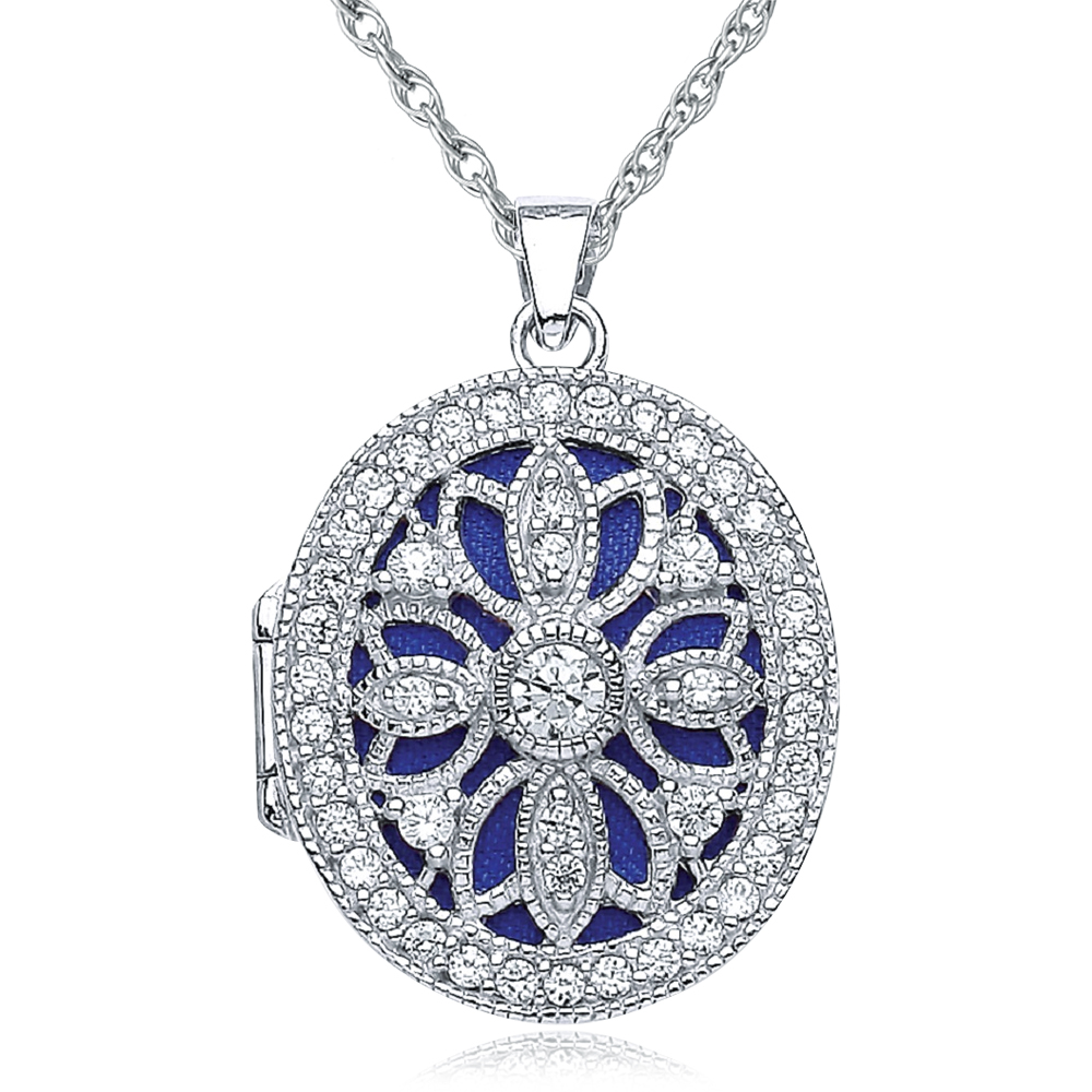 Vintage Style Cutout Flower Locket, Personalised, Sterling Silver with CZ