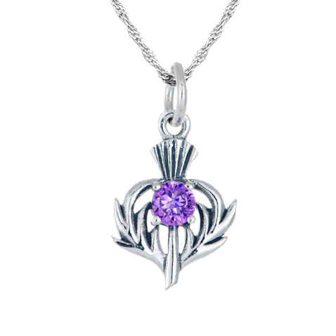 February Birthstone Scottish Thistle Sterling Silver Necklace