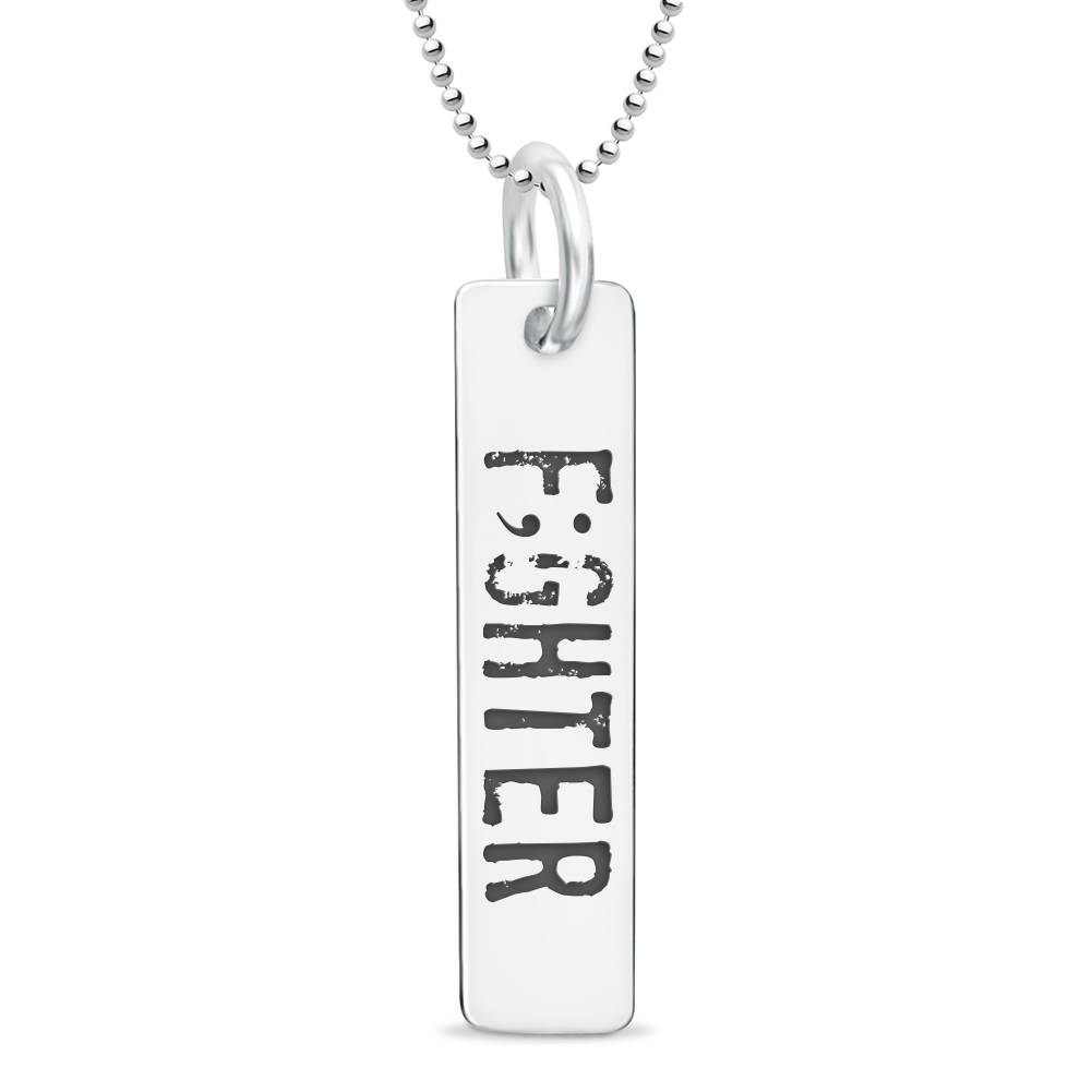 Fighter, Depression Dog Tag Necklace, with Personalisation, Sterling Silver