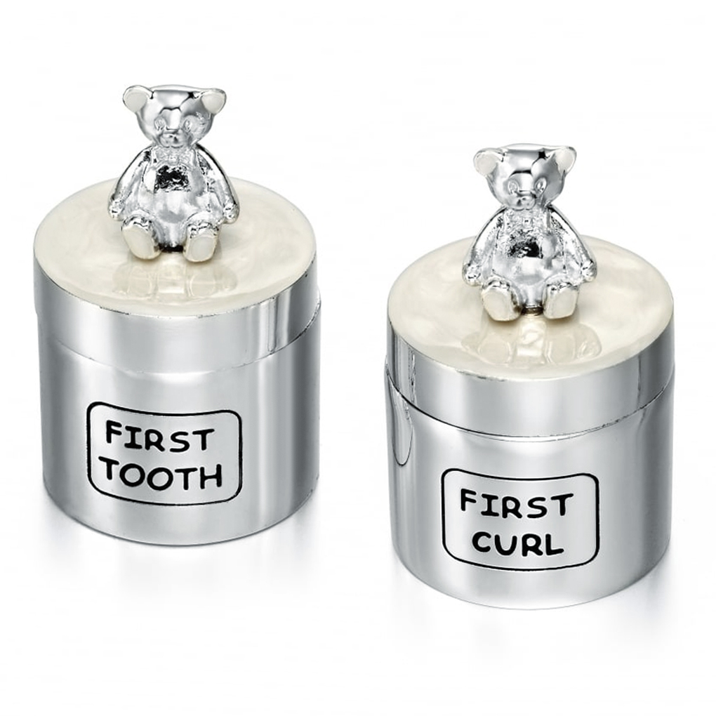 Teddy Bear First Tooth & Curl Boxes, Personalised, Silver Plated (Set of 2)