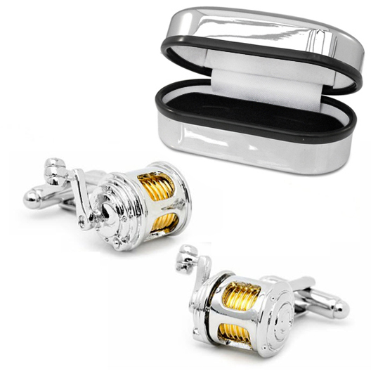 Fishing Rod Reel Cufflinks, Rhodium Plated (can be personalised)