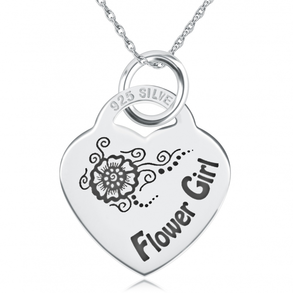 Flower Girl Heart Shaped Sterling Silver Necklace (can be personalised)
