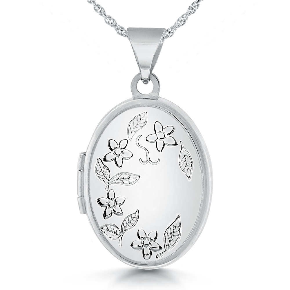 Women's Flower Locket with Personalised Engraving, 925 Sterling Silver