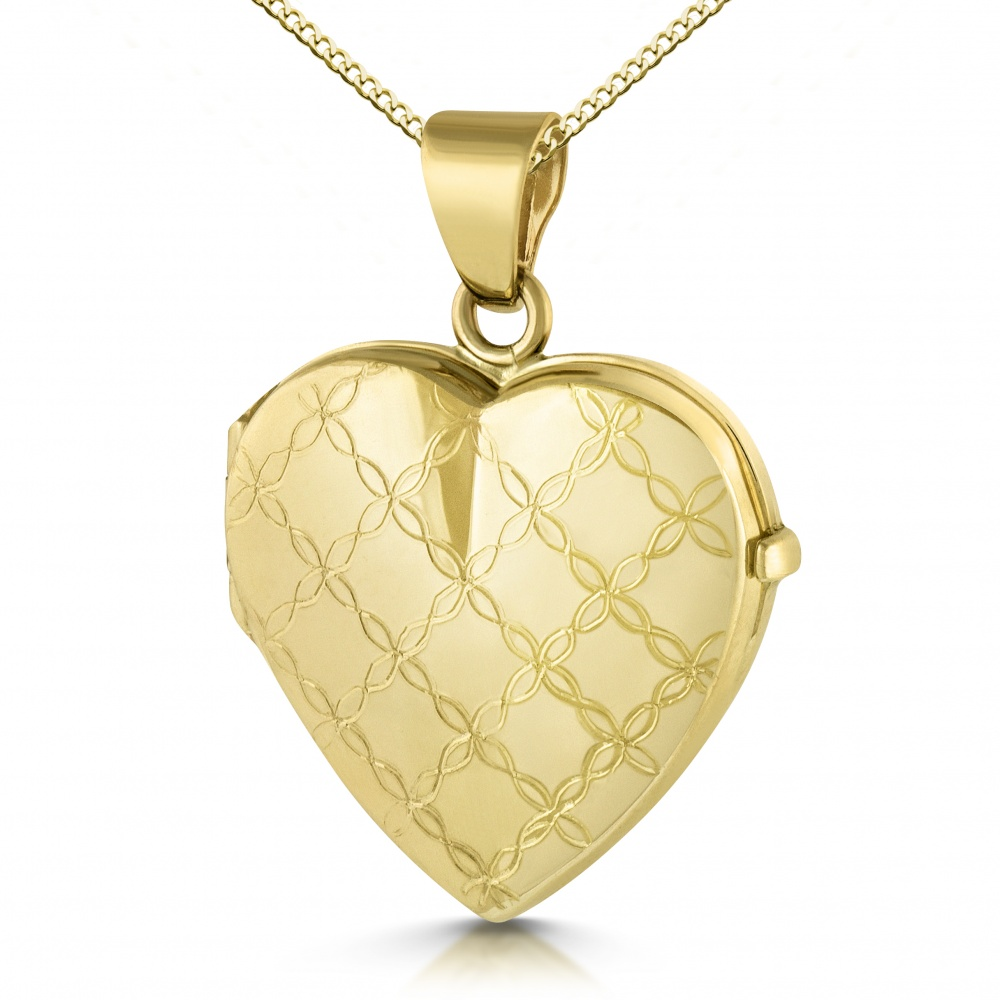 Diagonal Flower Locket, 9ct Gold, Personalised / Engraved
