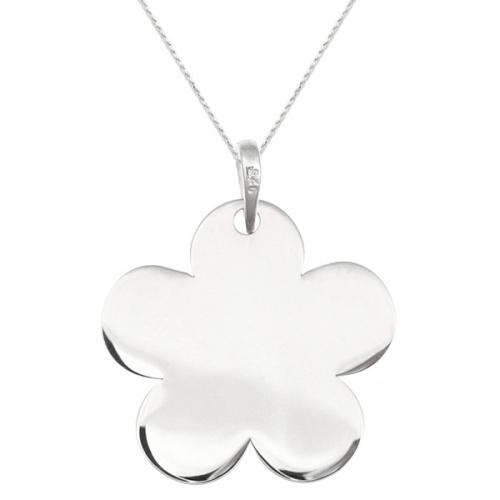 Flower Shaped Sterling Silver Necklace (can be personalised)