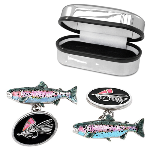 Fly Fishing Cufflinks Sterling Silver, Vitreous Enamel (can be personalised)