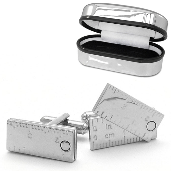 Fold Out Ruler Cufflinks with Chrome Box (can be personalised)