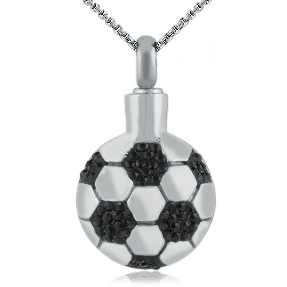 Football Cremation Necklace, Personalised, Stainless Steel