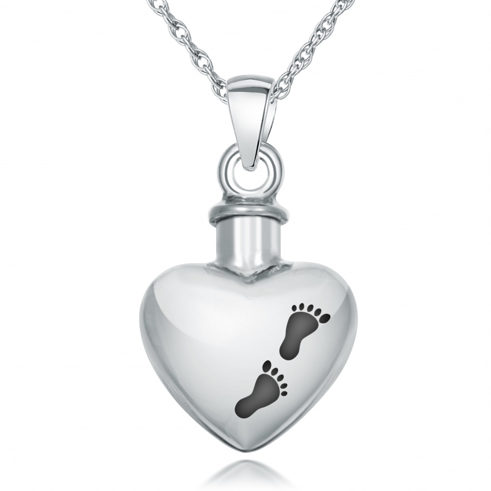Footprints ashes necklace personalised sterling silver aloadofball
