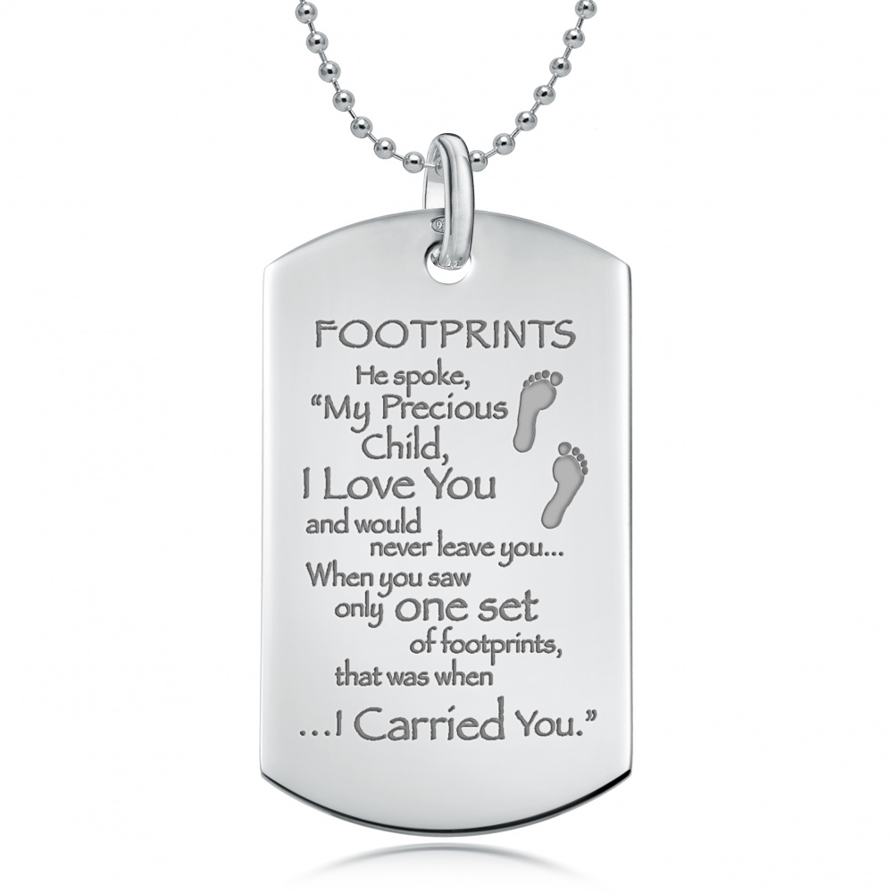 footprints necklace lockets tag can silver the personalised dog in be sand sterling