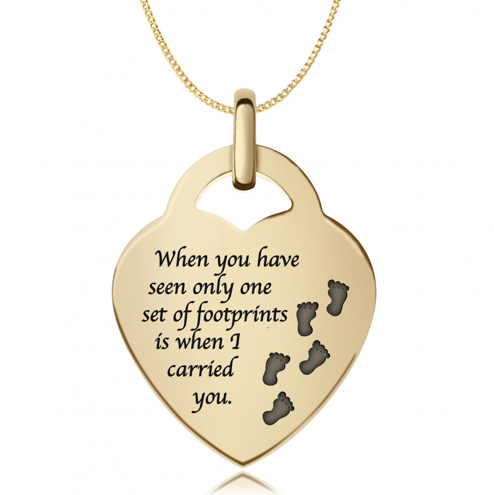 Footprints in the Sand Necklace, 9ct Gold, Personalised / Engraved