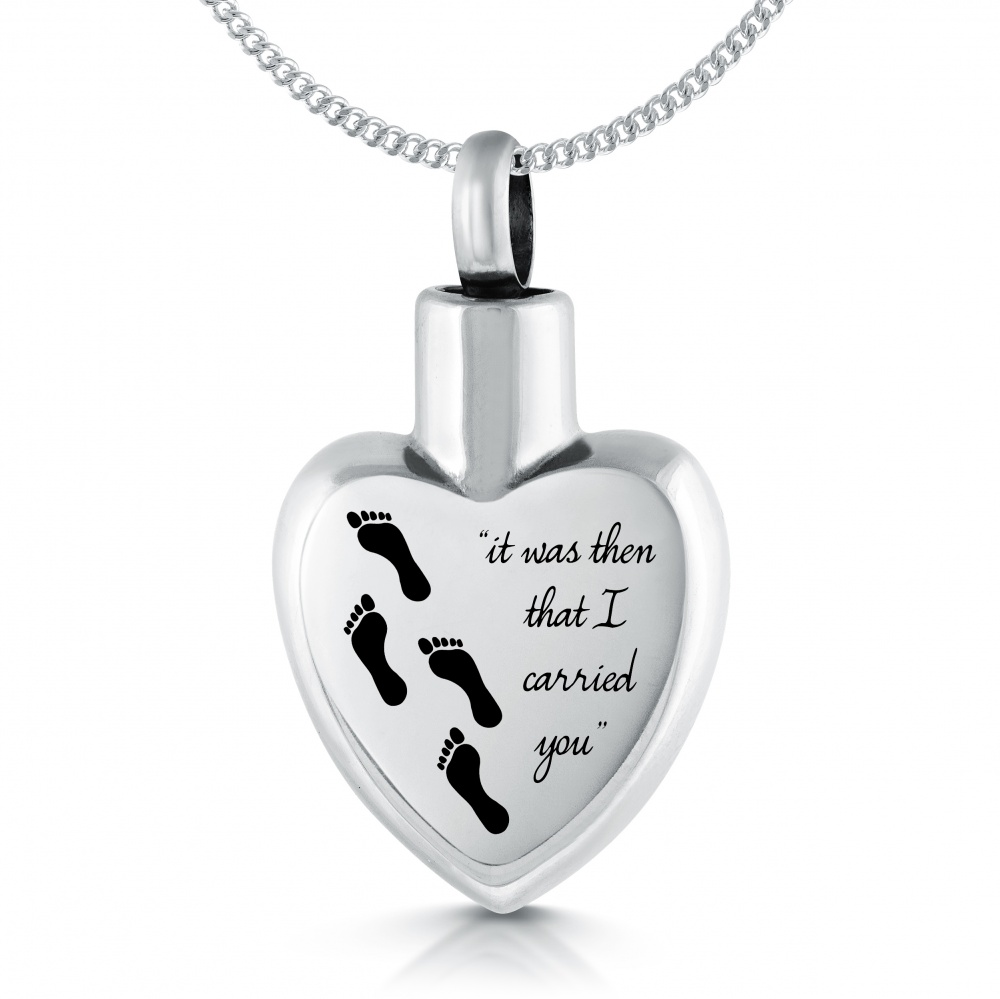 Footprints in the Sand, Cremation Ashes Urn Pendant