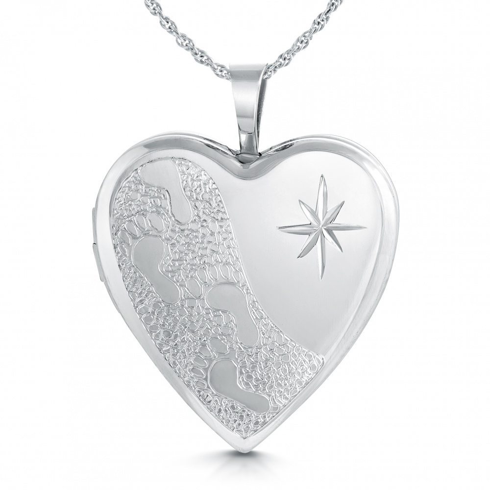 Footprints in the Sand Locket, Sterling Silver
