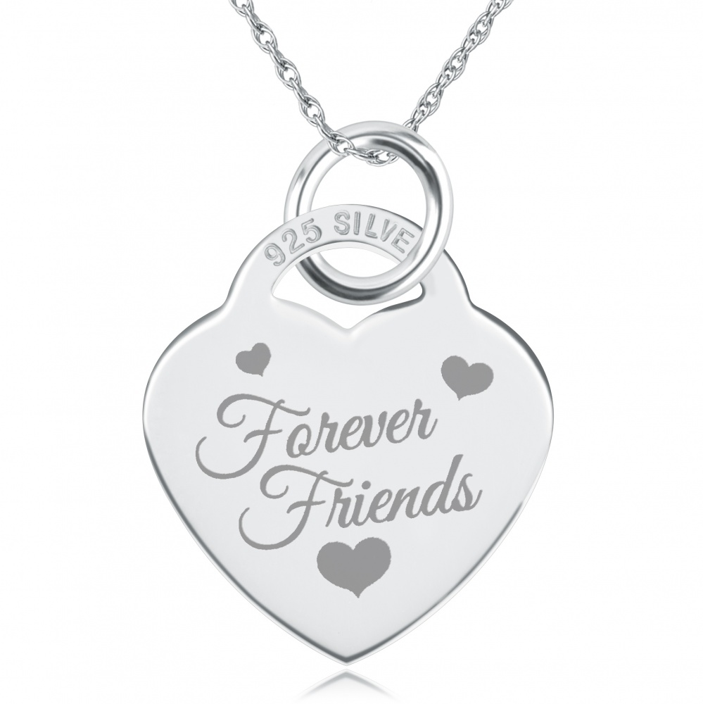 Forever Friends Heart Shaped Sterling Silver Necklace (can be personalised)