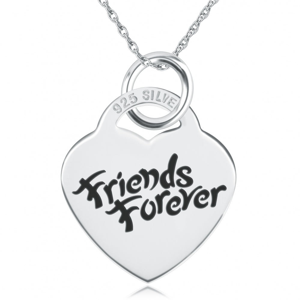Friends Forever, Heart Shaped Sterling Silver Necklace (can be personalised)