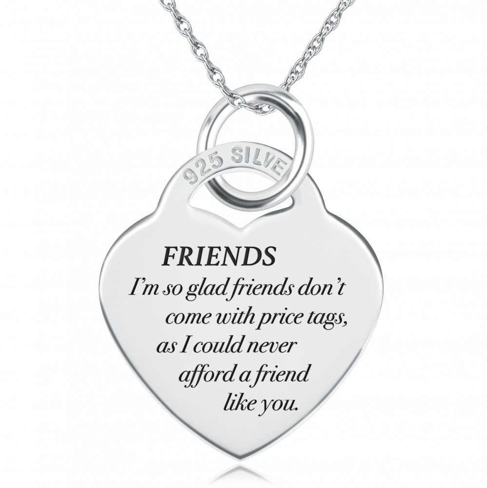 So Glad Friends don't come with Price Tag Necklace, Personalised, Sterling Silver