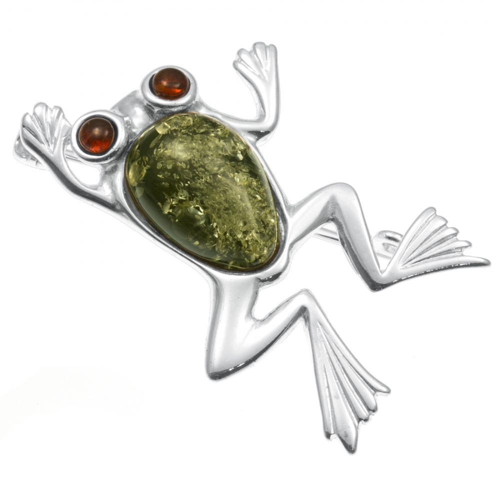 Frog Sterling Silver and Amber Brooch