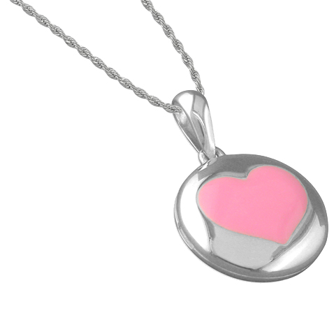 Girls From Me To You Pink Heart Sterling Silver Locket Necklace