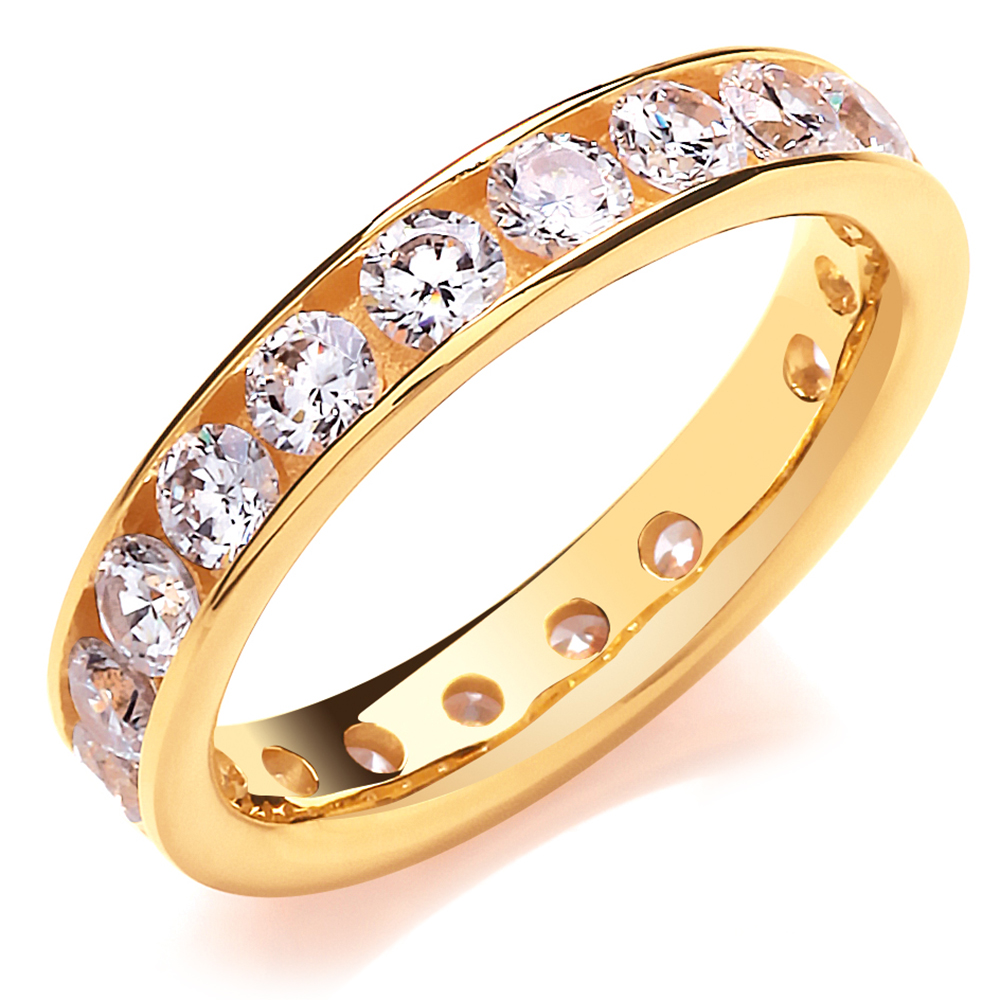 4mm Ladies Full Eternity Ring, Yellow Gold Vermeil & Cubic Zircomia