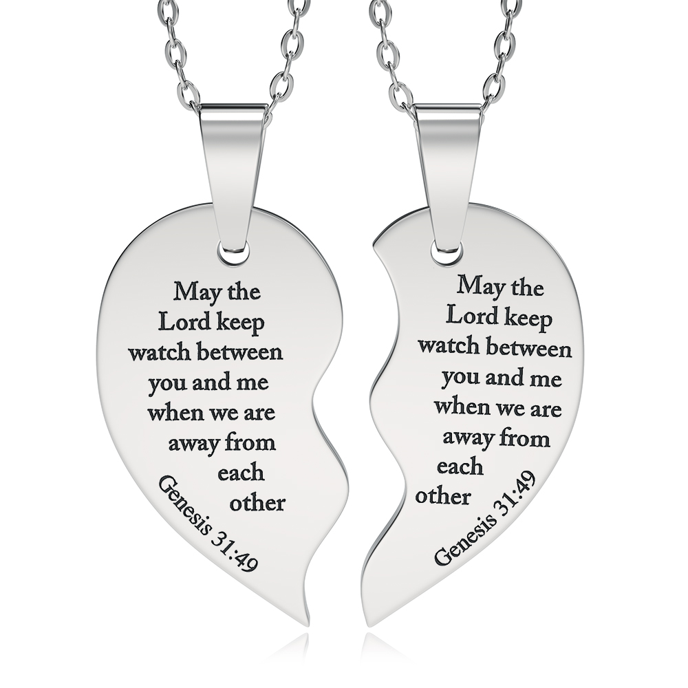 Genesis 31:49, Split Heart Necklace, Personalised, Sharing