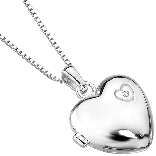 Girls Heart Shaped Locket Sterling Silver & Diamond by D for Diamonds (can be personalised)