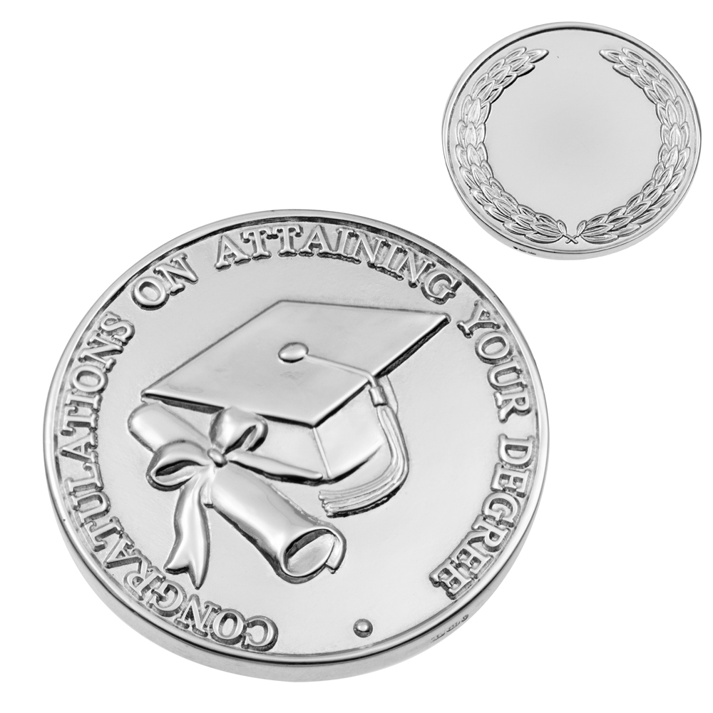 Graduation Coin, 925 Sterling Silver, Hallmarked (can be personalised)