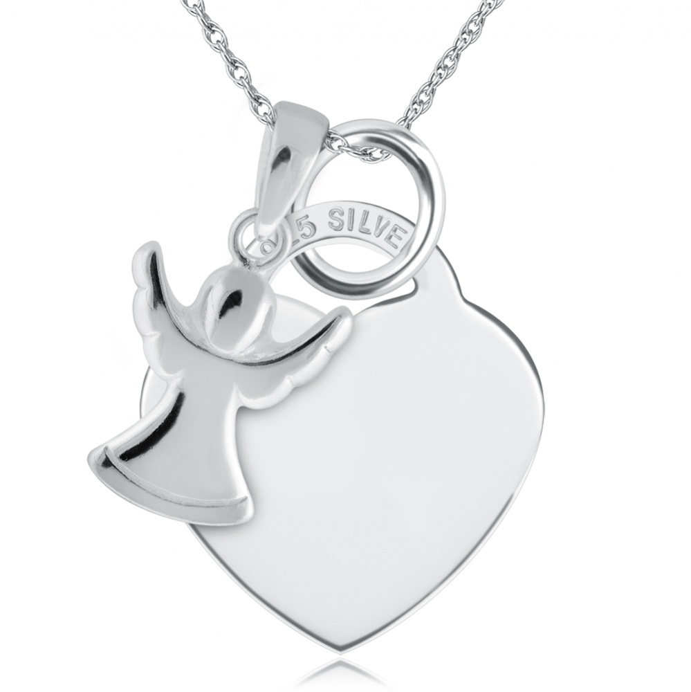 Guardian Angel & Heart Necklace, with Personalisation, Sterling Silver