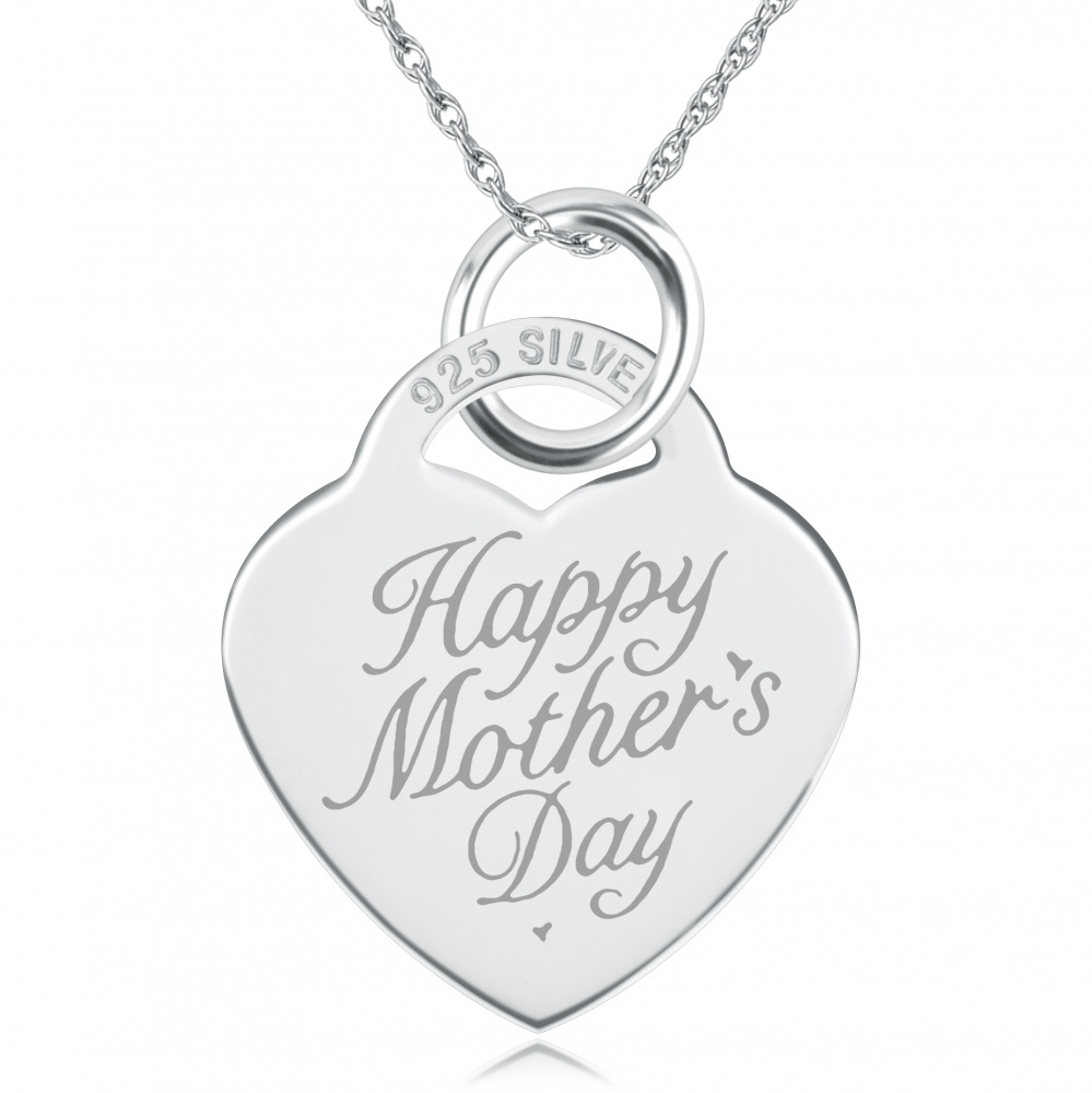 happy mother s day heart necklace pendant 925 sterling silver