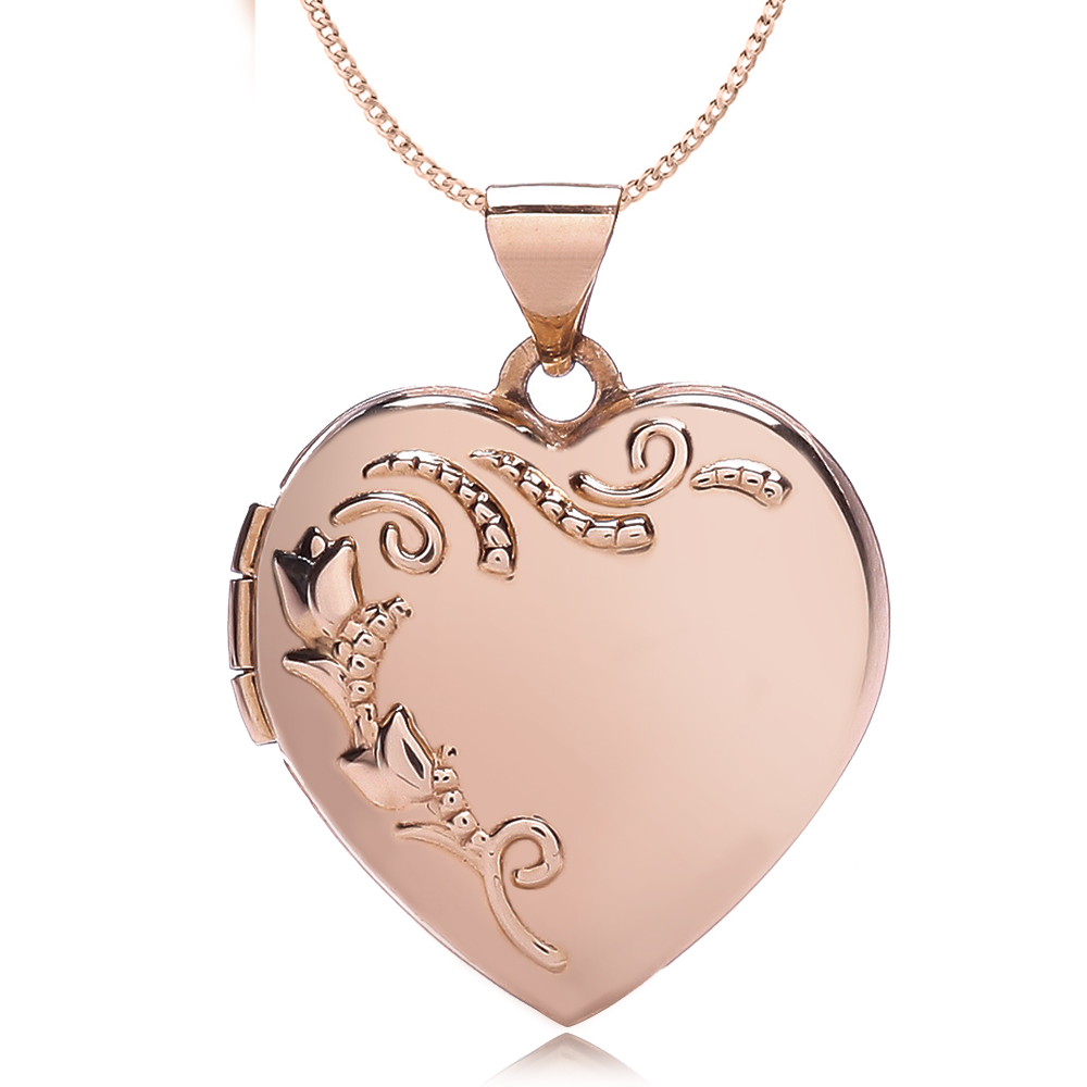 Heart Shape 9ct Rose Gold Locket, Personalised / Engraved