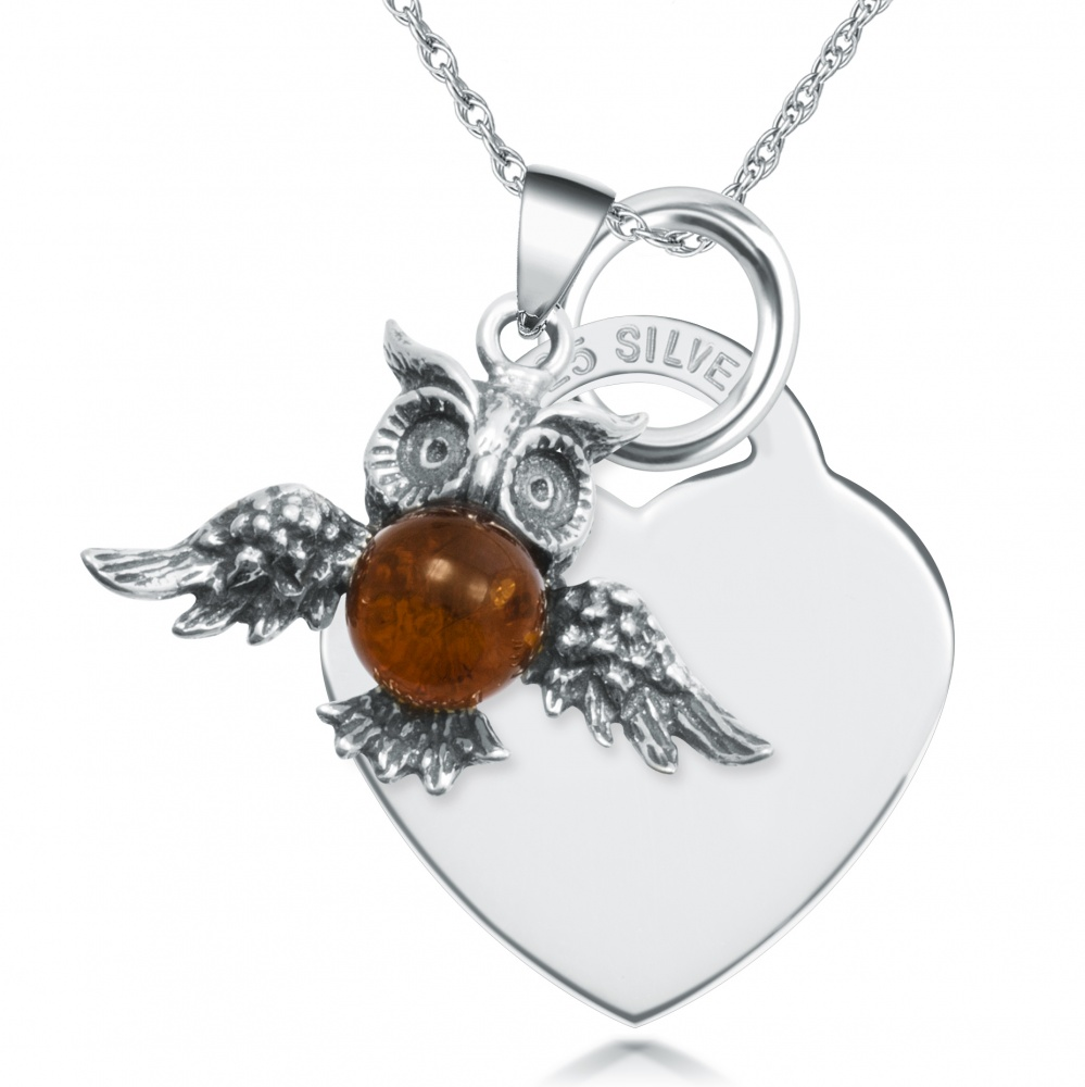 Amber Owl & Sterling Silver Heart Necklace (can be personalised)