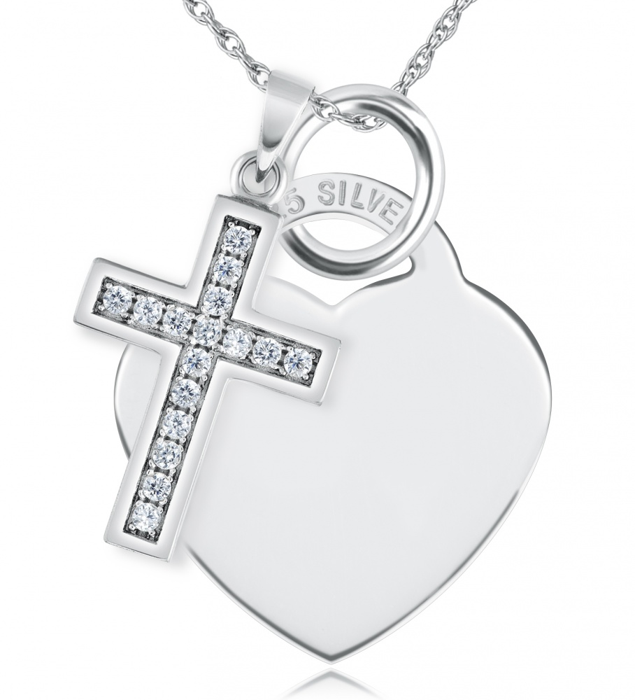Cross & Heart Necklace, Personalised, Cubic Zirconia & Sterling Silver