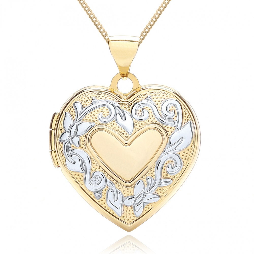 Heart Shaped Family Album Locket, 9ct Yellow & White Gold, Personalised