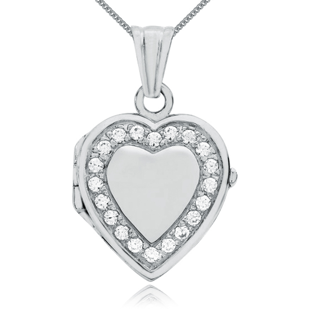 Heart Shaped Locket, 9ct White Gold, Personalised, Cubic Zirconia Border