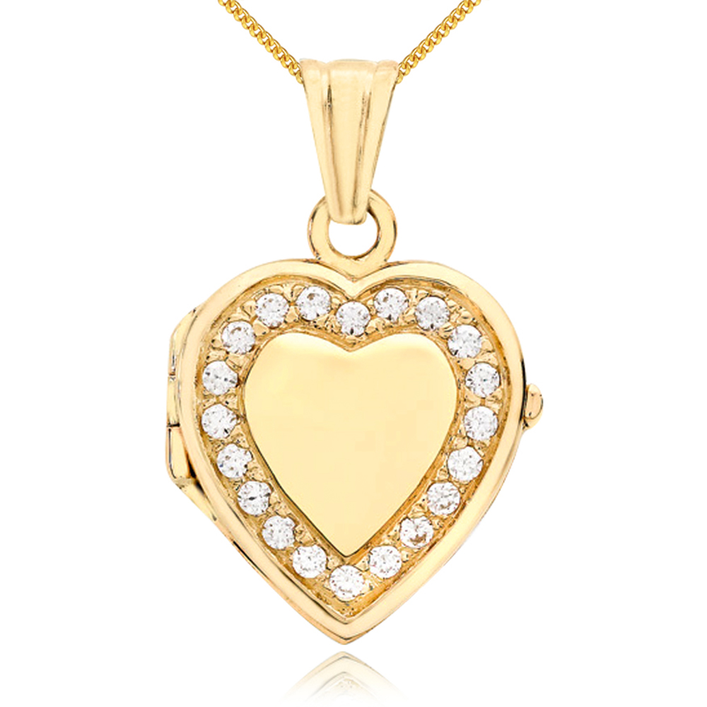 Heart Shaped Locket, 9ct Yellow Gold, Personalised, Cubic Zirconia Border