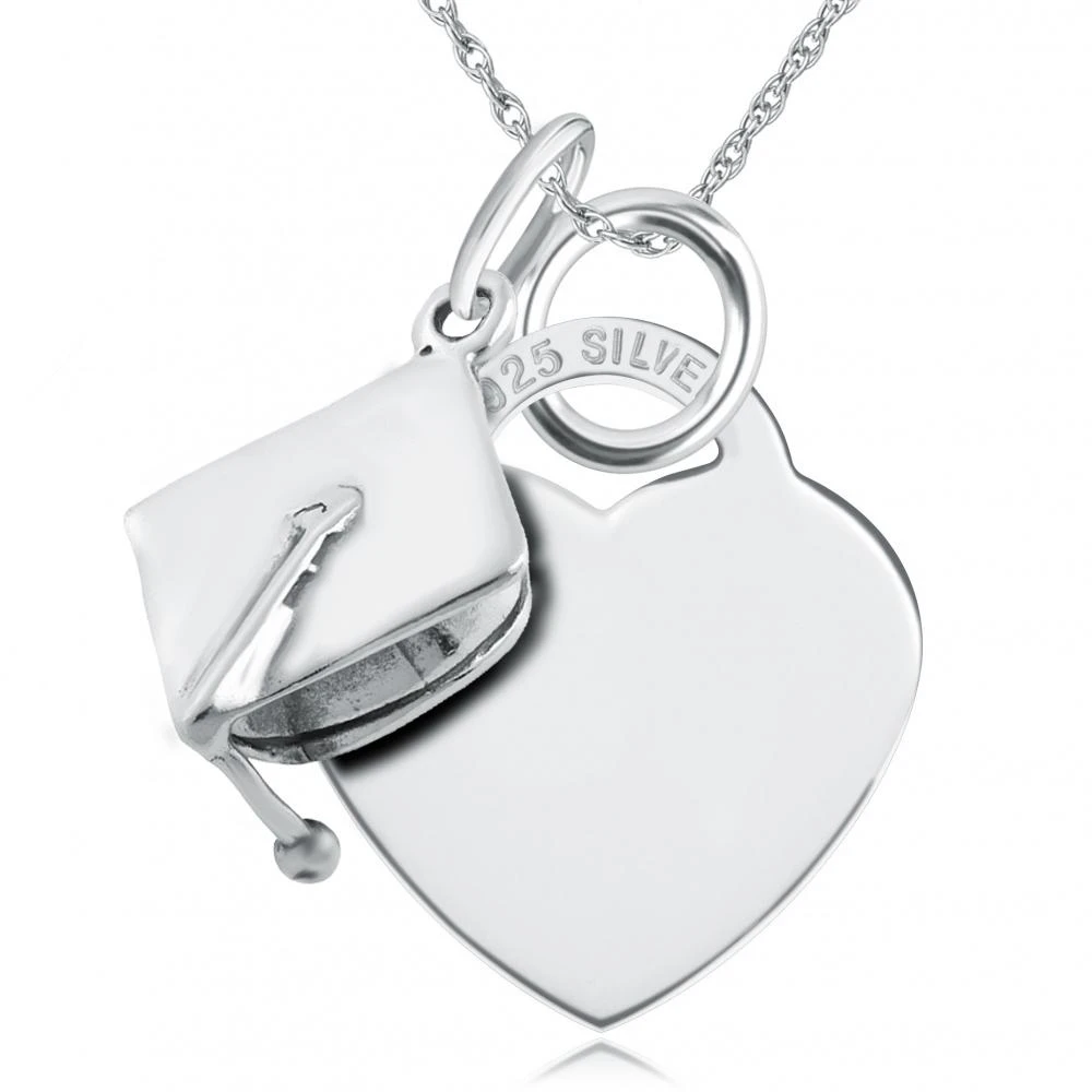Graduation Heart & Mortar Board Hat Sterling Silver Necklace (can be personalised)