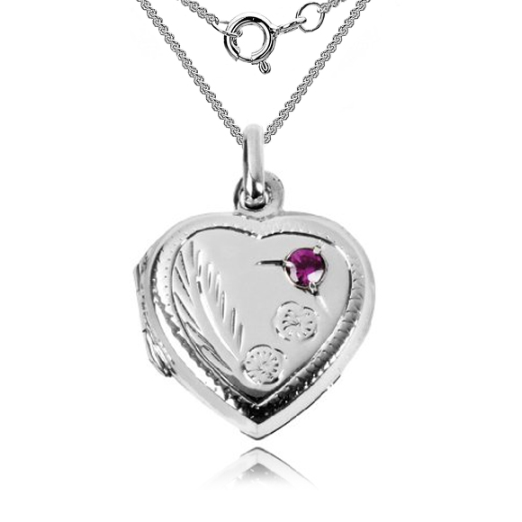 Heart Shaped Sterling Silver Locket with Red Stone (can be personalised)